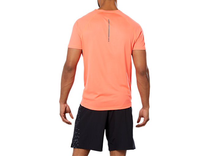 Back view of SPORT RUN TOP, FLASH CORAL