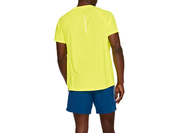 Back view of SPORT RUN TOP, SAFETY YELLOW