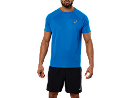 Front Top view of SPORT RUN TOP, RACE BLUE