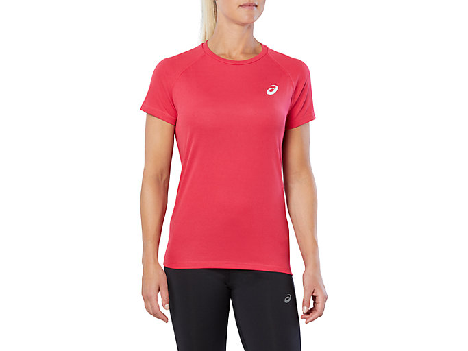 Front Top view of SPORT RUN TOP, COSMO PINK