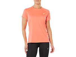 Front Top view of SPORT RUN TOP, FLASH CORAL
