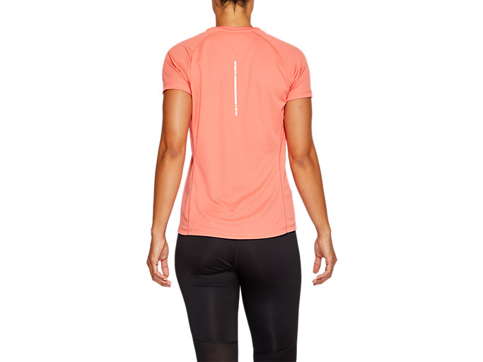 Back view of SPORT RUN TOP, PAPAYA