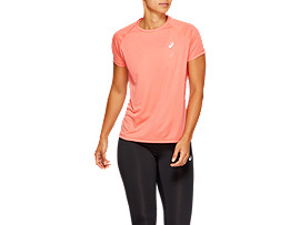Front Top view of SPORT RUN TOP, PAPAYA