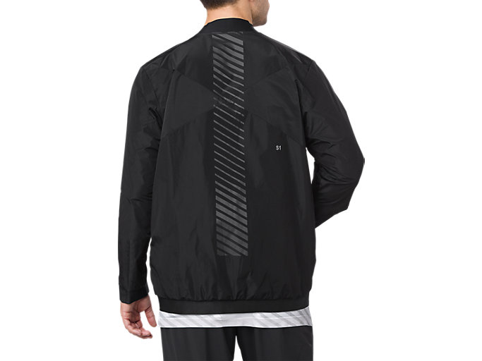 Back view of WOVEN BOMBER JACKET, PERFORMANCE BLACK