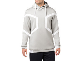 Front Top view of HEXAGON PO HOODIE, BRILLIANT WHITE