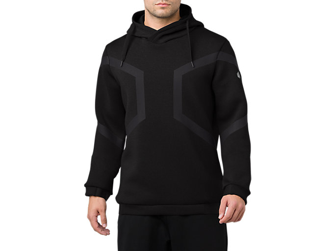 Front Top view of HEXAGON PO HOODIE, PERFORMANCE BLACK