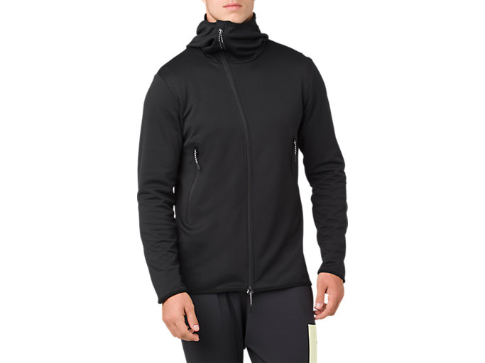 Front Top view of W-REPEL KNIT FZ JKT, PERFORMANCE BLACK