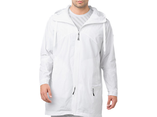 LONG COAT FZ HOODIE, Brilliant White