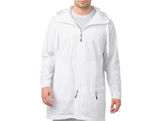 LONG COAT FZ HOODIE, BRILLIANT WHITE