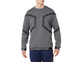 Front Top view of HEXAGON LS CREW TOP, DARK GREY
