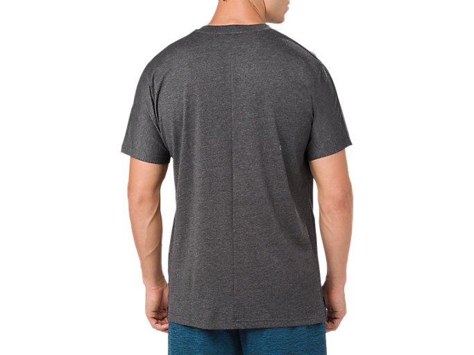 Back view of POWER SS TOP, PERFORMANCE BLACK HEATHER
