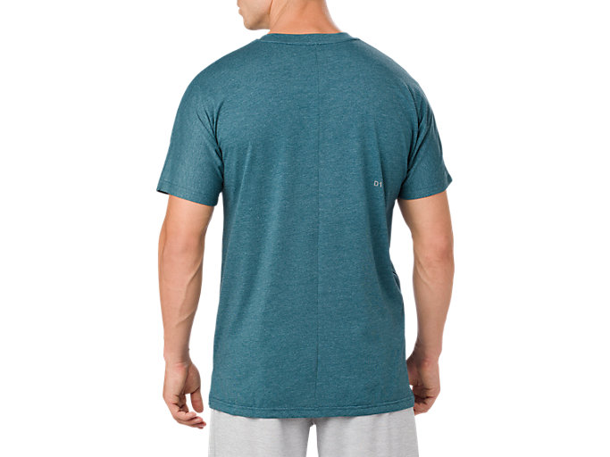 Back view of POWER SS TOP, BLUE STEEL HEATHER