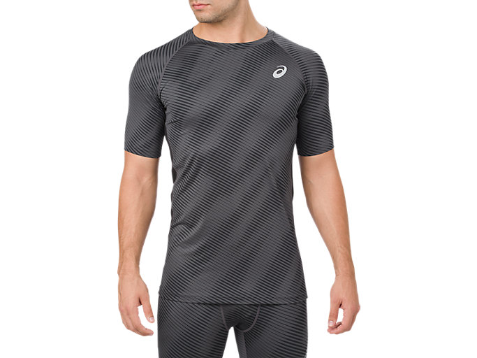 Front Top view of BASELAYER G SS TOP, PERFORMANCE BLACK