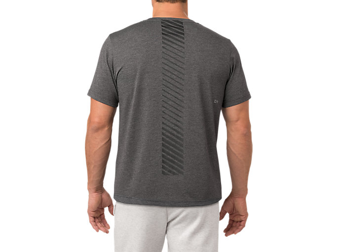 Back view of SS TOP, PERFORMANCE BLACK HEATHER