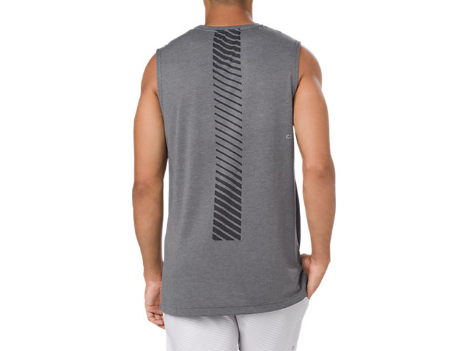 Back view of GEL-COOL TANK, PERFORMANCE BLACK HEATHER