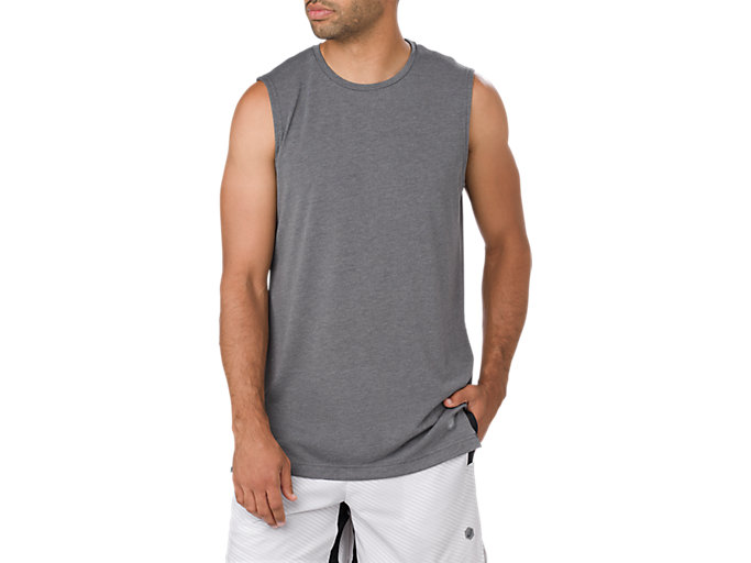 Front Top view of GEL-COOL TANK, PERFORMANCE BLACK HEATHER