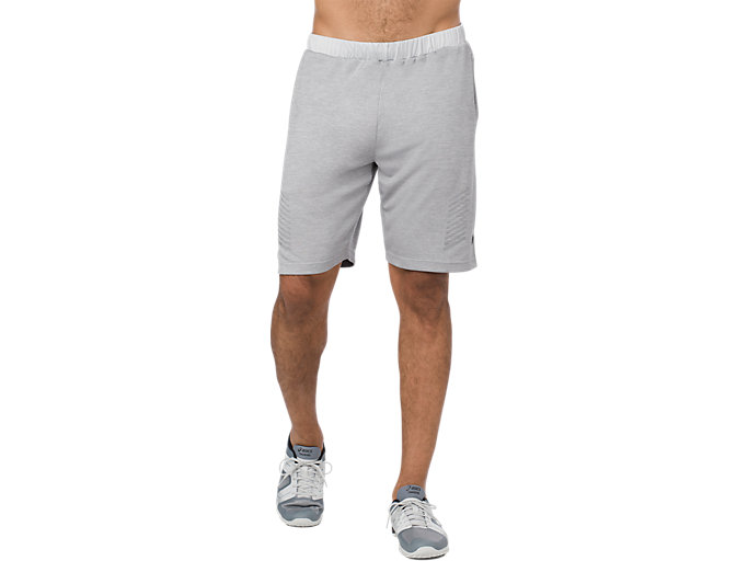 Front Top view of POWER SHORT 10IN, MID GREY HEATHER