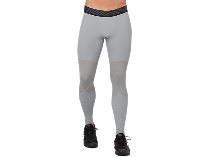 Front Top view of ASICS BASE LAYER LONG TIGHT, STONE GREY