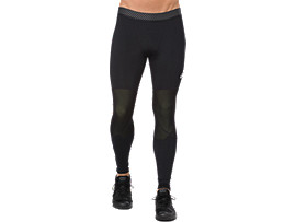 Front Top view of ASICS BASE LAYER LONG TIGHT, PERFORMANCE BLACK