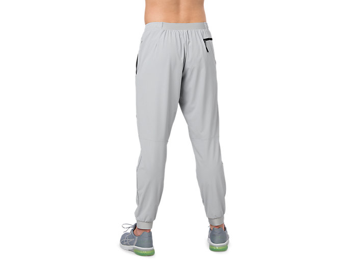 Back view of STRETCH WOVEN PANT, MID GREY