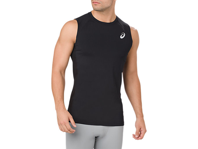 Front Top view of ASICS BASE LAYER TANK TOP, PERFORMANCE BLACK