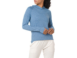 SWEAT PO HOODIE, AZURE HEATHER