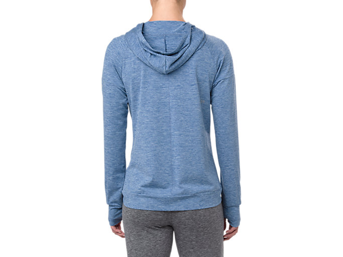 Back view of SWEAT PO HOODIE, AZURE HEATHER