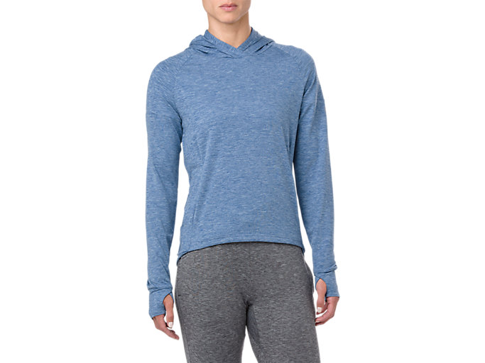 Front Top view of SWEAT PO HOODIE, AZURE HEATHER