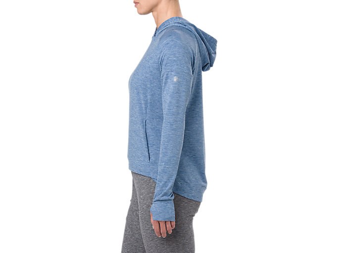 Side view of SWEAT PO HOODIE, AZURE HEATHER