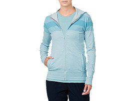 Front Top view of SEAMLESS FZ HOODIE, PORCELAIN BLUE HEATHER