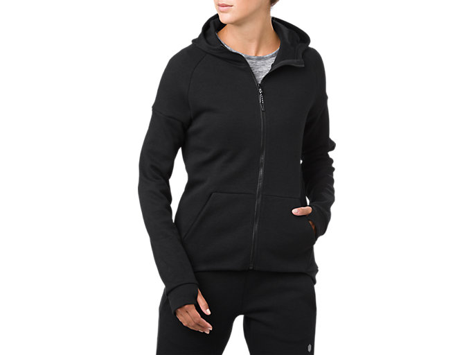 Front Top view of SWEAT FZ HOODIE, PERFORMANCE BLACK