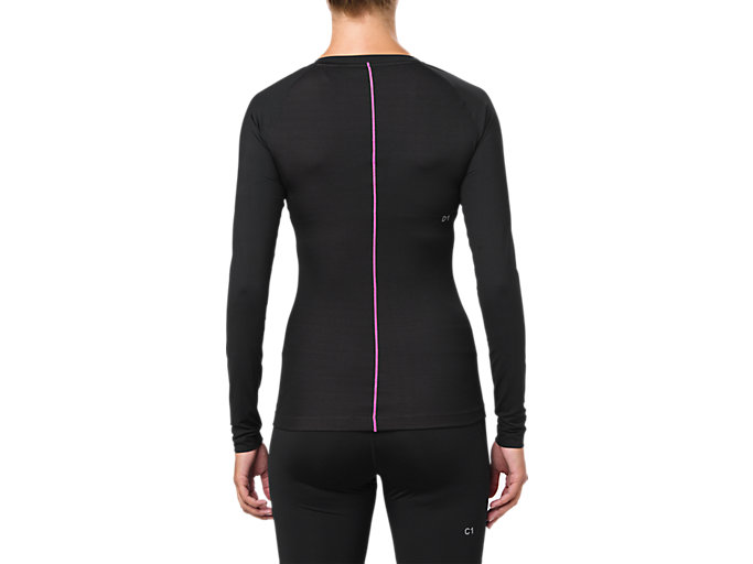 Back view of BASELAYER LS TOP, PERFORMANCE BLACK