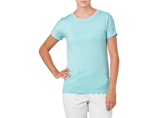CREW NECK SS TOP, PORCELAIN BLUE