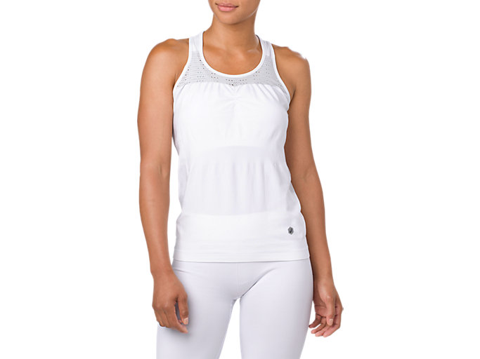 Front Top view of SEAMLESS TANK, BRILLIANT WHITE