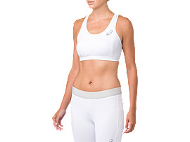 Front Top view of ASICS BASE LAYER MED SUPPORT BRA, BRILLIANT WHITE