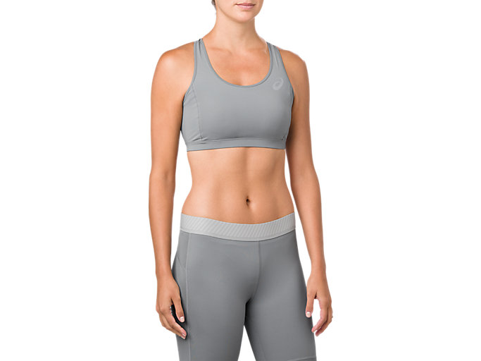 Front Top view of ASICS BASE LAYER MED SUPPORT BRA, STONE GREY