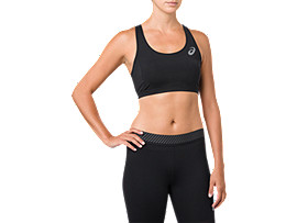 Front Top view of ASICS BASE LAYER MED SUPPORT BRA, PERFORMANCE BLACK