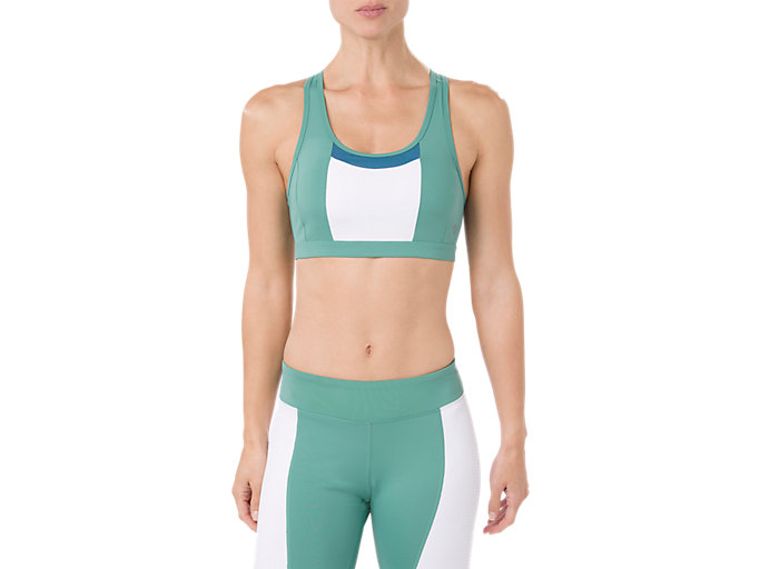 Front Top view of COLOR BLOCK BRA, SAGE