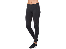 Front Top view of COOL 7/8 TIGHT, PERFORMANCE BLACK HEATHER