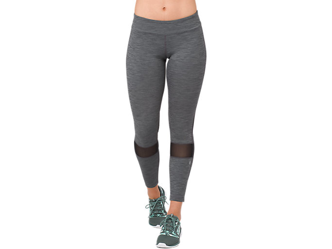 Front Top view of MELANGE 7/8 TIGHT, PERFORMANCE BLACK HEATHER