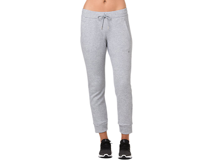 Front Top view of SWEAT PANT, STONE GREY HEATHER