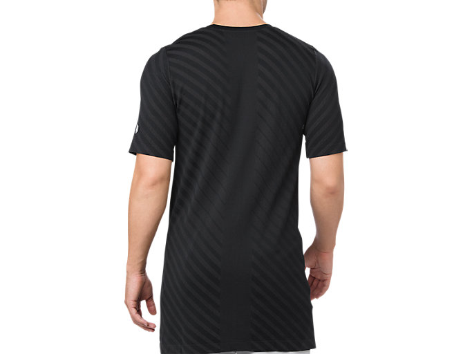Back view of SEAMLESS SS TOP, PERFORMANCE BLACK