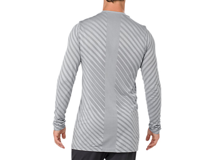 Back view of SEAMLESS LS TOP, STONE GREY