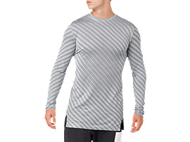 Front Top view of SEAMLESS LS TOP, STONE GREY