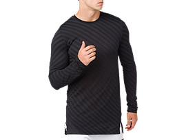 Front Top view of SEAMLESS LS TOP, PERFORMANCE BLACK