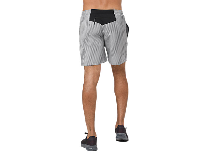 Back view of GRAPHIC SHORT 6IN, STONE GREY