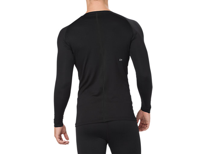 Back view of BL RECOVERY LS TOP, PERFORMANCE BLACK