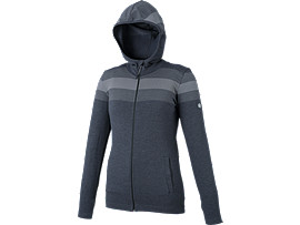 Front Top view of SEAMLESS FZ HOODIE, P BLACK HT
