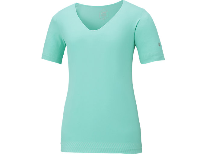 COOLING SEAMLESS SS TOP V-NECK TOP, オパールグリーン