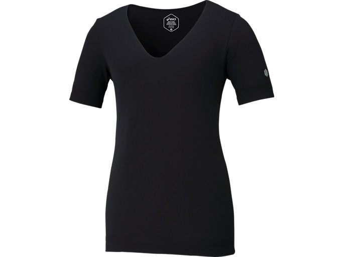 COOLING SEAMLESS SS TOP V-NECK TOP, P BLACK